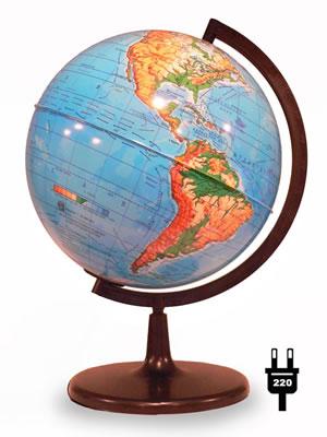 Глобус Земли физический (диаметр 210 мм, с подсветкой)