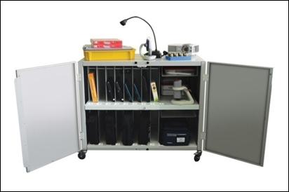 База для хранения, зарядки и транспортировки средств обучения (количество ячеек не менее 15)