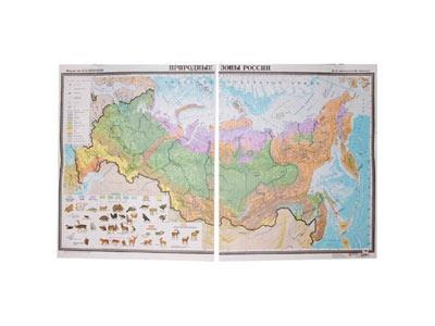 Карта Природные зоны России, ламинированная